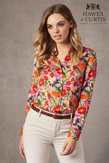 Hawes & Curtis Pink Stripe Floral Luxury Matt Satin Blouse