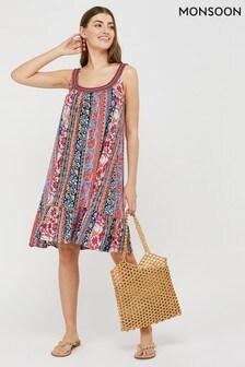 Monsoon Blue Norah Stripe Ecovero Jersey Dress