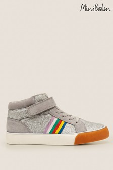 Boden Silver Elasticated Lace High Tops