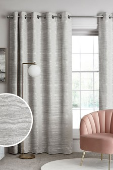 Silver Grey Marble Effect Chenille Eyelet Lined Curtains