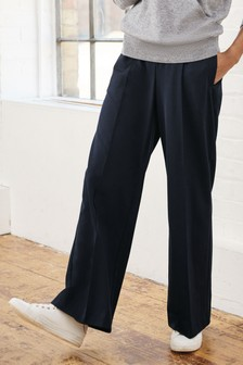 Premium Crepe Elastic Waist Wide Leg Trousers