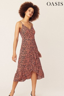 Oasis Orange Animal Cami Wrap Midi Dress