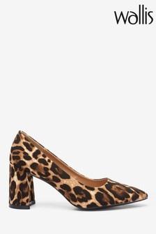 Wallis Animal Block Heel Pointed Court Shoes
