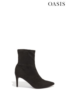 Oasis Black Pull On Sock Boots
