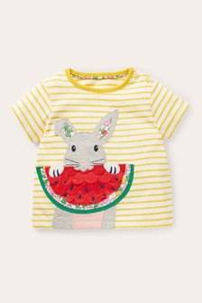 Boden Yellow Fun Appliqué T-Shirt