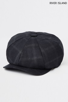 River Island Navy Check Baker Boy Hat