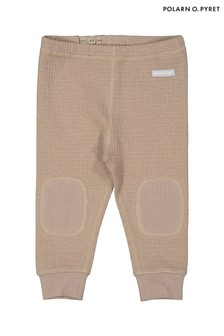 Polarn O. Pyret Brown Organic Cotton Waffle Texture Trousers