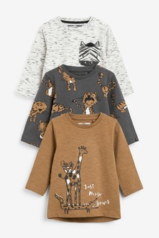 3 Pack Jersey Safari Long Sleeve T-Shirts (3mths-7yrs)