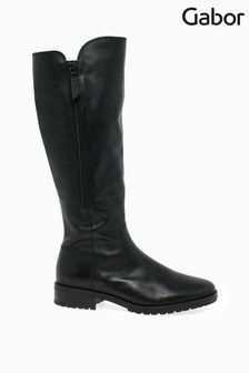 Gabor Black Texas Leather Large Calf Width Fit Long Leg Boots