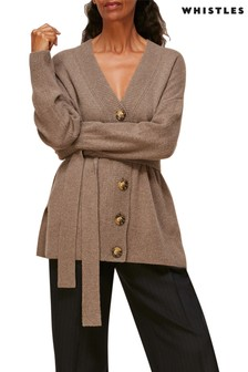 Whistles Oatmeal Cashmere Belted Oversize Cardigan