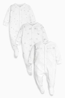精美大象图案睡衣三件装 (0-12 个月)