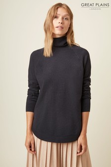 Great Plains Blue Moselle Knit Roll Neck Jumper
