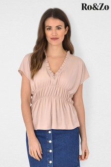 Ro&Zo Nude Shirred Waist Jersey Top