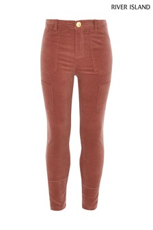 River Island Pink Uncut Cord Utility Trousers