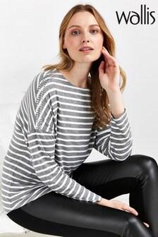 Wallis Grey Stripe Stud Shoulder Top