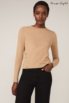 Phase Eight Neutral Bella Button Knit Top