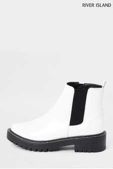River Island White Queen Chunky Patent Gussett Boots