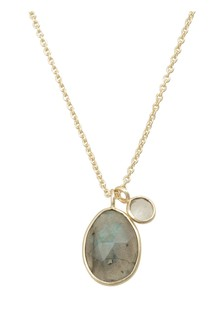 Oliver Bonas Grey Claudine Oval & Round Pendant Necklace