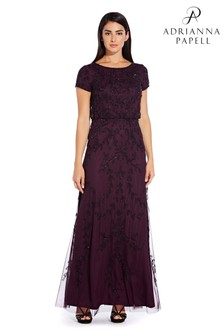 Adrianna Papell Purple Long Beaded Dress
