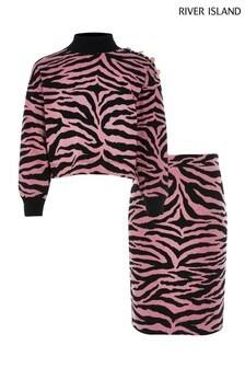 Розовый джемпер с принтом зебры и юбка River Island