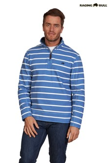 Raging Bull Mid Blue Pigment Stripe Quarter Zip Jumper