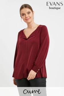 Evans Curve Wine V-Neck Shirt