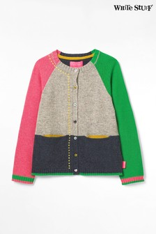 White Stuff Grey Kids Clara Colourblock Cardigan