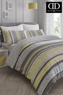 Hanworth Stripe Floral Duvet Cover And Pillowcase Set by D&D