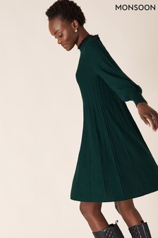Monsoon Green Recycled Polyester Woven Trim Dress