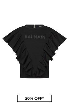 Balmain Girls Black Cotton T-Shirt