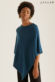 Jigsaw Teal Wool Cashmere Blend Rolled Poncho