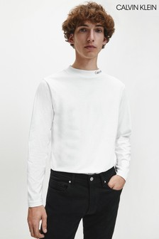 Calvin Klein White Logo Mock Neck Long Sleeve T-Shirt