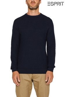 Esprit Long Sleeved Woven Sweatshirt With Round Neck