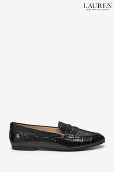 Lauren Ralph Lauren Black Croc Adison Loafers