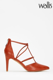Wallis Brown Open Strappy Pointed Court Shoes