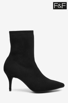 F&F Black Kitten Heel Sock Boots