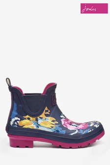 Joules Blue Floral Wellibob Short Height Welly
