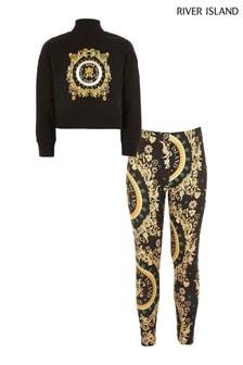 River Island Black Print Baroque Sweater And Legging Set