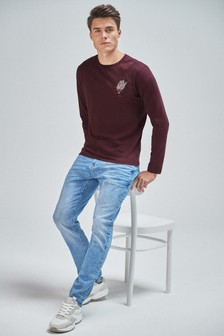 Long Sleeve Embroidered Graphic Regular Fit T-Shirt