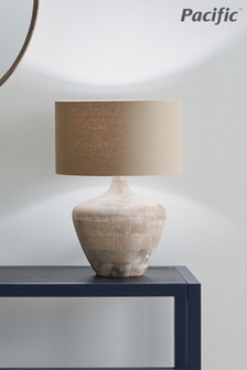 Manaia White Wash Textured Wood Table Lamp by Pacific Lifestyle