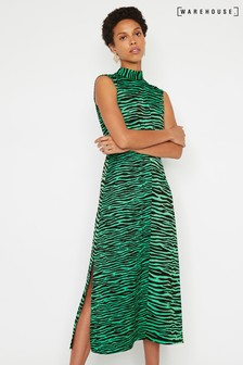 Warehouse Green High Neck Midi Dress