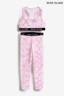 River Island Pink Print Racer Bra & Leggings Set