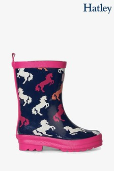 Hatley Blue Playful Horses Shiny Rain Boots