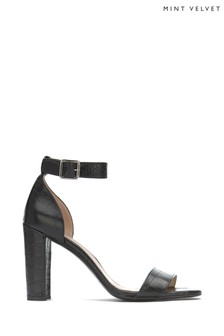 Mint Velvet Lucy Black Croc Heeled Sandals