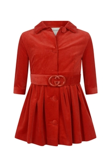Girls Red Corduroy Chemisiere Dress