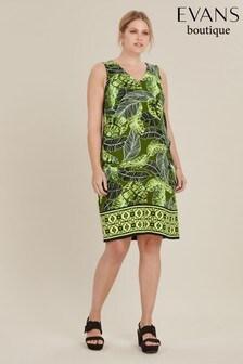 Evans Curve Khaki Print Shift Dress