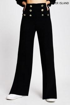 River Island Black Button Wide Leg Trousers