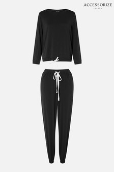 Accessorize Black Full-Length Jersey Lounge Set