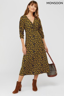 Monsoon Blue Daphne Ditsy Print Midi Dress
