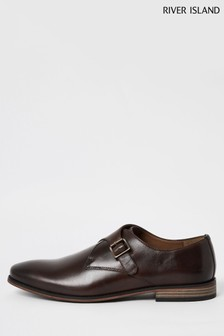 River Island Brown Single Monk Strap Leather Shoes